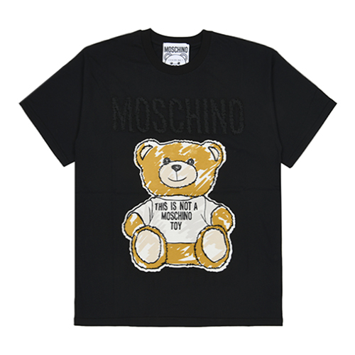 [MOSCHINO]TEDDY BEAR PATCH BLACK COTTON T-SHIRT/0710-0440-6555