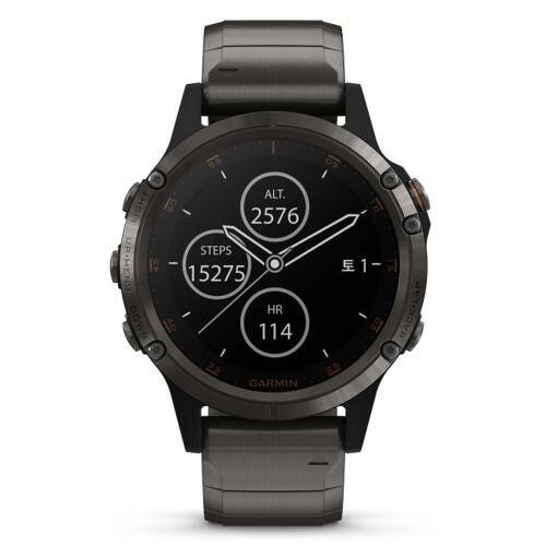 [GARMIN]fenix 5 Plus,Sapph,Carbon Gray w/DLC Ti Band,GPS Watch,KOR/010-01988-82